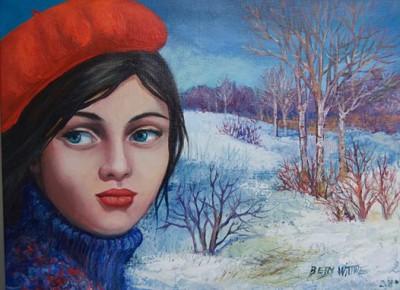 Le petit chaperon rouge, huile sur toile 40cm x 30 cm